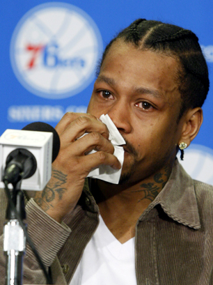 3, 2009 - Allen Iverson sheds tears at a 76ers media conference
