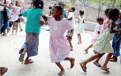 Haitian school children at play