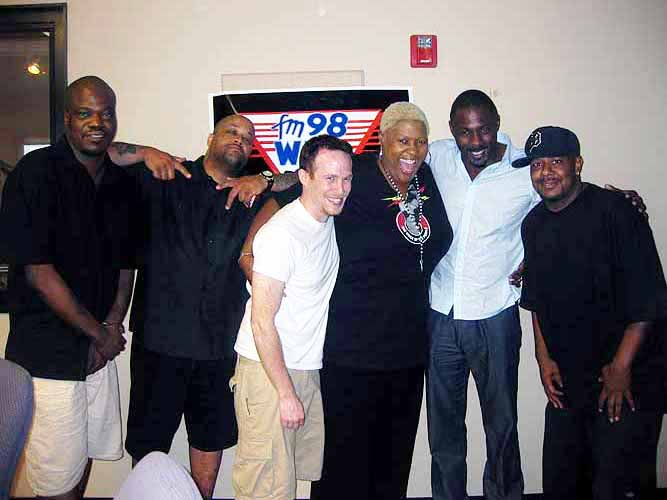 Idris Elba (second from right) with the 97.9 WJLB radio crew