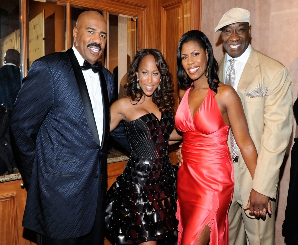 Steve and Marjorie Harvey stand with Michael Clarke Duncan and Omarosa for a