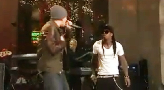 *Flanked by a full band, Eminem and Lil Wayne joined forces for a
