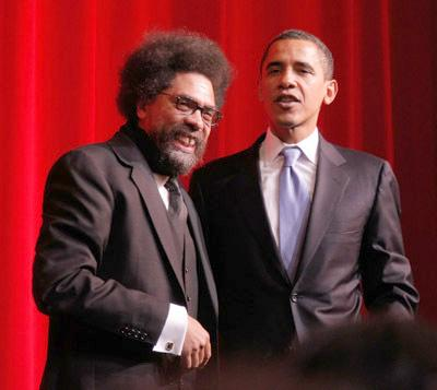 Cornel West stands with President Obama in better days.