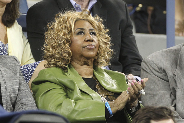 Aretha Franklin watching a match during the US Open held at the Billie Jean King tennis center in Flushing Meadows, New York. (Sept. 8, 2011)