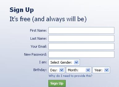 facebook signup page hoax