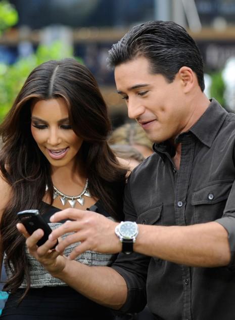 "Kim Kardashian, and Mario Lopez film a segment for the CW show ""H8ters"""