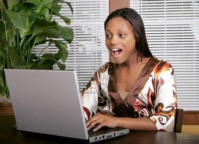 shocked look at computer