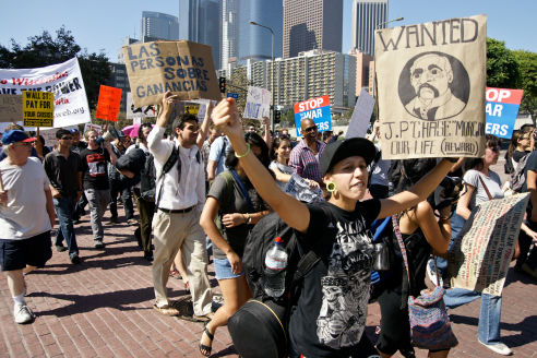 Participants in Occupy Los Angeles march toward City Hall. (Eric Richardson)