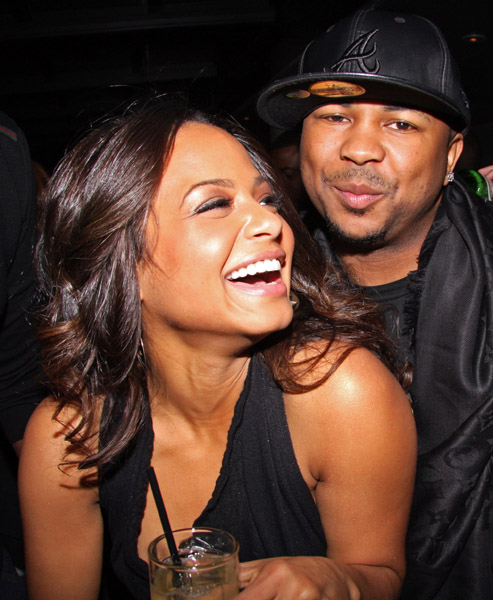 (L-R) Christina Milian and The-Dream attend Karen Kwak's birthday party at the Thompson LES on January 28, 2009 in New York City.