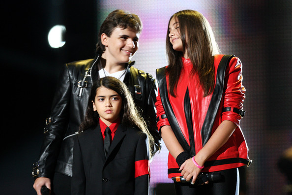 L-R Prince Jackson, Blanket Jackson and Paris Jackson appear onstage at the 'Michael Forever' concert to remember the late Michael Jackson at The Millenium Stadium on Oct. 8, 2011 in Cardiff, United Kingdom