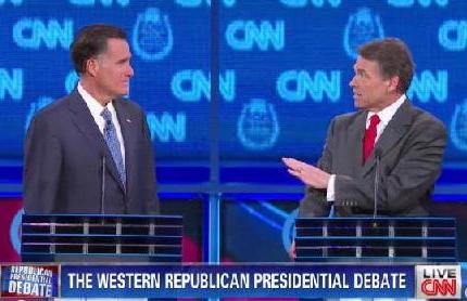 Last night in Vegas, Rick Perry attacks Mitt Romney's policies on immigration saying that he knowingly employed 'illegals' in his home