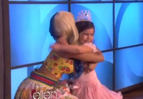 Nicki Minaj surprises her biggest little fan 8-year old Sophia Grace Brownlee and her lil' 5-year old cousin Rosie Grace from Essex, England, on the Ellen Degeneres show Wednesday, October 12, 2011