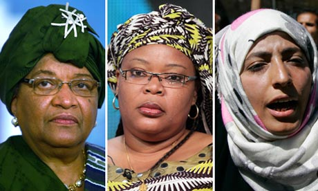 (l to r) Ellen Johnson-Sirleaf, Leymah Gbowee And Tawakkul Karman all received the 2011 Nobel Peace Prize for their efforts in women's rights