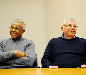 National Basketball Players Association Executive Dir. Billy Hunter and NBA Commissioner David Stern