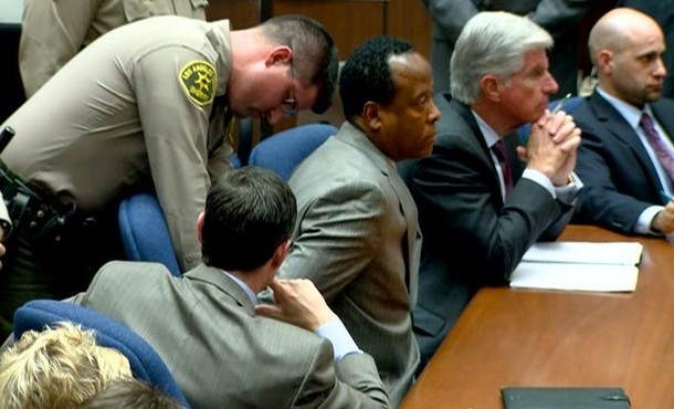 Dr. Conrad Murray is remanded into custody after the jury returned with a guilty verdict in his involuntary manslaughter trial at the Los Angeles Superior Court on November 7, 2011 in Los Angeles