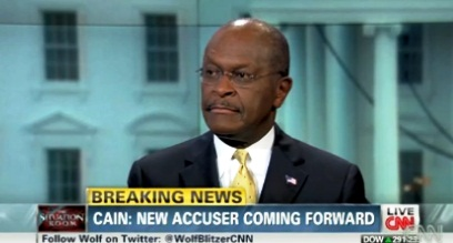 "Herman Cain denies allegations of an affair during an appearance on CNN's ""Situation Room"" (Nov. 28, 2011)"