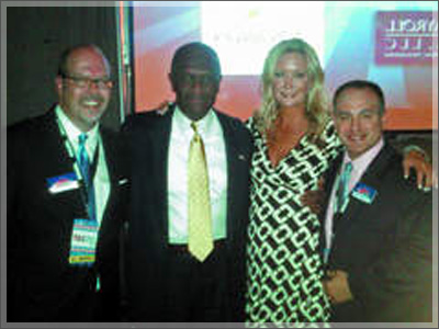 Herman Cain backstage at the recent TeaCon with Amy Jacobson shortly after Cain's alleged encounter with accuser Sharon Bialek.