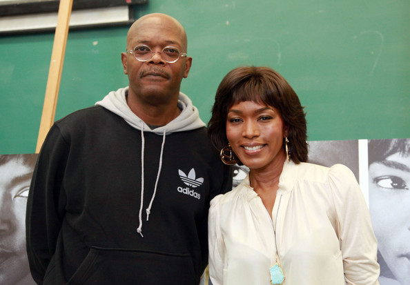 "Samuel L. Jackson and Angela Bassett attend the ""The Mountaintop"" press confrence at Brooklyn High School of the Arts on September 19, 2011 in the Brooklyn borough of New York City"