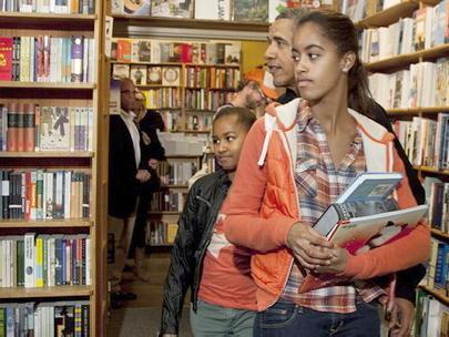 President and daughters visit bookstore (Kramerbooks) near White house