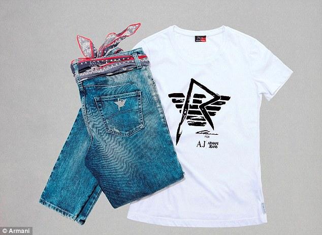 rihanna tshirt and jeans armani