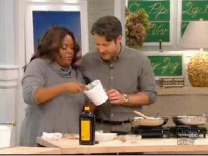 Sherri Shepherd shares cooking advice with Nate Berkus on his show with Aaron McCargo on his show in November.