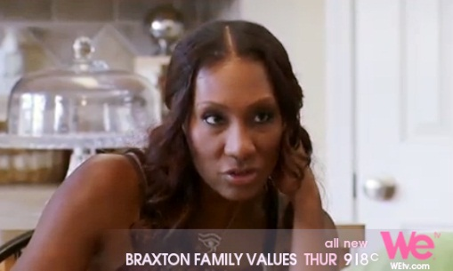 "Towanda in a heated discussion with her husband Andre in ""Braxton Family Values"""
