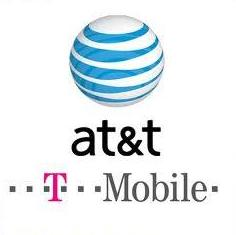 at & t and t-mobile logos