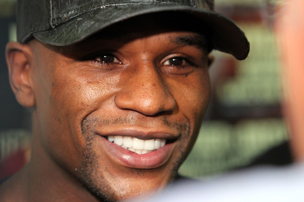 Floyd Mayweather speaks to the media prior to his workout training session at his gym on Sept. 6, 2011 in Las Vegas