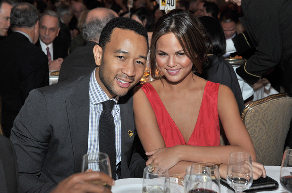 John Legend and model Chrissy Teigen attend the International Rescue Committee's Annual Freedom Award benefit at the Waldorf Astoria Hotel on Nov. 9, 2011 in New York City
