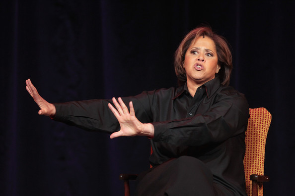 "Author/playwright/actress Anna Deavere Smith speaks onstage during the Great Performances ""Let Me Down Easy"" panel during the PBS portion of the 2012 Winter TCA Tour at The Langham Huntington Hotel and Spa on Jan. 5, 2012 in Pasadena, Calif."