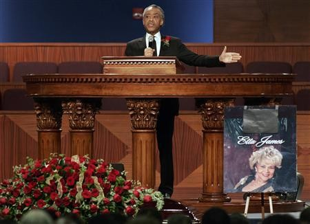 sharpton at etta james funeral