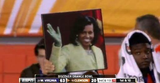 michelle obama football closeup
