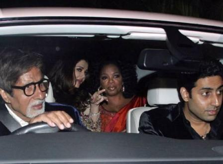 Oprah Winfrey arrives in Mumbai, India. She is welcomed Bollywood's Amitabh Bachchan (L), Aishwarya Rai Bachchan and Abhishek Bachchan (driving)..