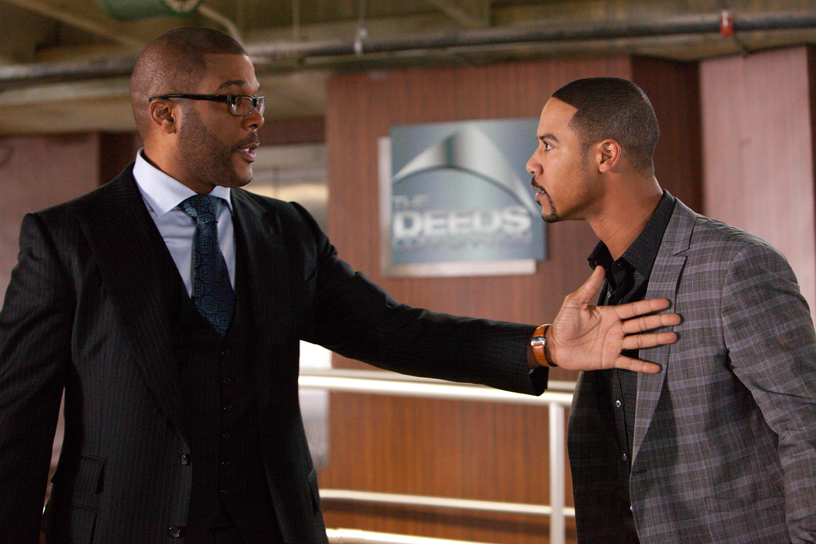 Tyler Perry and Brian White in the Lionsgate film Good Deeds
