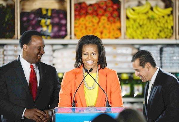 michelle obama ( with james butts & antonio villaraigosa)