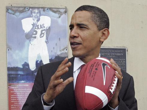 obama & with football
