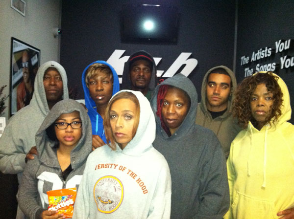 KJLH's Front Page show hosted by Dominique DiPrima (center) shows solidarity with the nation over the death of Trayvon Martin by wearing their hoodies while broadcasting special coverage of the Martin case.  Dominique is pictured with (l to r) Abeid, Dominique Dright, Angela Hoffman, Tal Talib, Jasmyne Cannick, Avi Bernard, Brenda Caddell.
