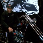 Sugar Bear on his custom chopper displayed at Harley-Davidson museum