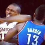 Metta World Peace Booted From Game for throwing Elbow at OKC Player