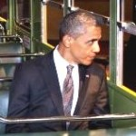 Photo: President Obama Sits on the Rosa Parks Bus