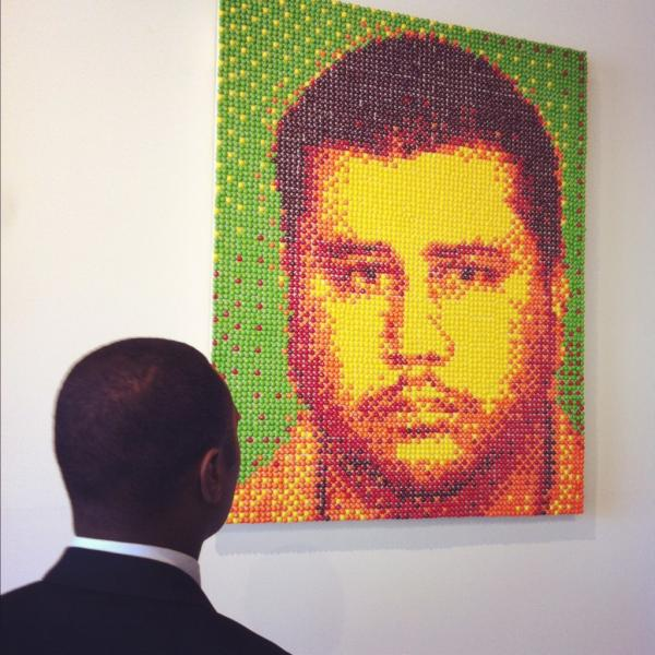 George Zimmerman mugshot made entirely out of Skittles
