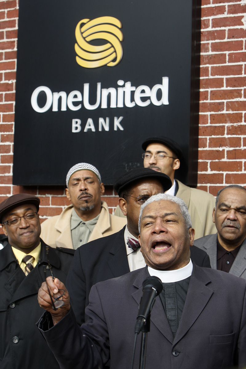 Protest outside OneUnited Bank branch in Grove Hall