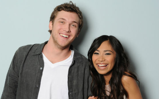 American Idol finalists Phillip Phillips and Jessica Sanchez
