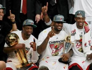 (L-R) Dwyane Wade, LeBron James, Chris Bosh of the NBA Champion Miami Heat
