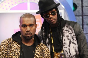 "Kanye West (L) and 2 Chainz on BET's ""106 & Park"""