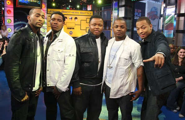 "Willie Taylor, Robert Curry, Mike McCLuney, Brian Andrews, and Qwanel Mosley of the group Day 26 from ""Making The Band"" visit MTV's TRL at MTV Studios on March 18, 2008 in New York City"