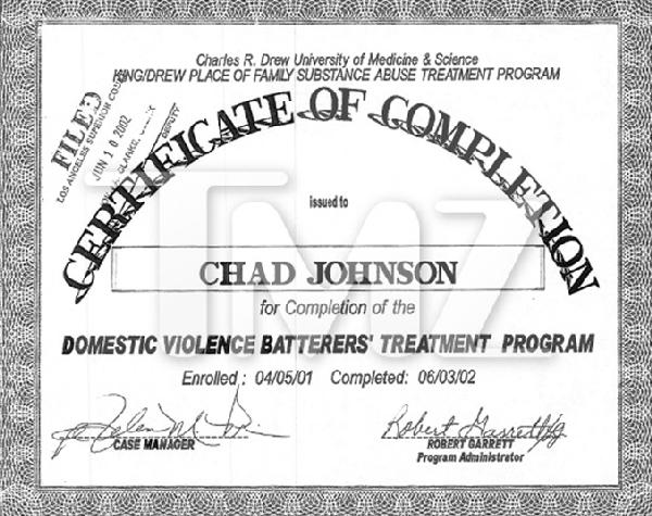 Chad Johnson's certificate of completion from domestic violence batterers' treatment program