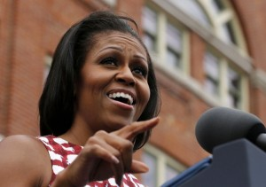 First lady Michelle Obama introduces U.S. President Barack Obama at an event at the Alliant Energy Amphitheater in Dubuque, Iowa, August 15, 2012.