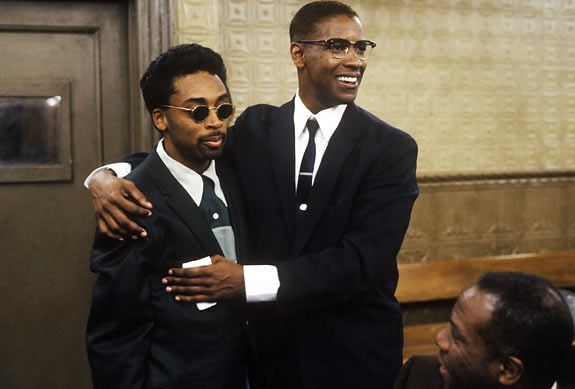 Spike Lee and Denzel Washington in the film 'Malcolm X'