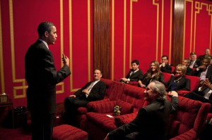 "President Barack Obama delivers remarks before a screening of ""The Pacific"" in the Family Theater of the White House, March 11, 2010.  Tom Hanks and Steven Spielberg, the two executive producers of ""The Pacific"", sit in the front row. (Official White House Photo by Pete Souza)"