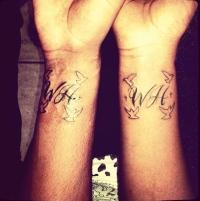 Bobbi Kristina (R) and Nick Gordon's tattoos